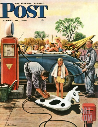 """Inflating Beach Toy,"" Saturday Evening Post Cover, August 20, 1949 Stretched Canvas Print"