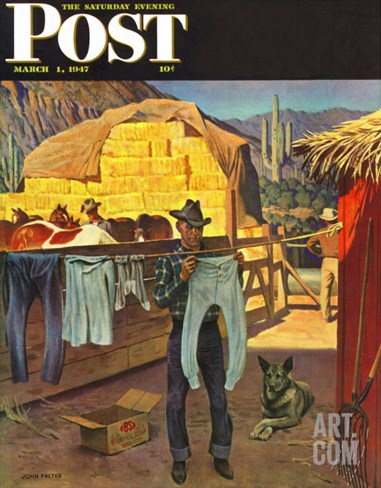 """""""Cowboy Hanging Out His Laundry,"""" Saturday Evening Post Cover, March 1, 1947 Stretched Canvas Print"""