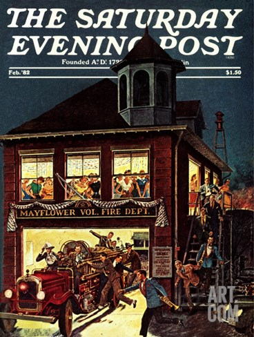 """Fireman's Ball,"" Saturday Evening Post Cover, February 1, 1982 Stretched Canvas Print"
