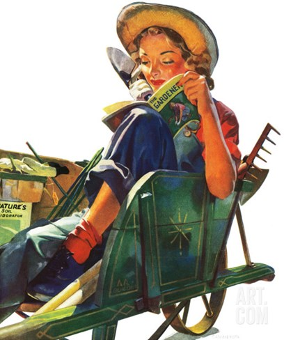 """Gardener in Wheelbarrow,"" May 10, 1941 Stretched Canvas Print"