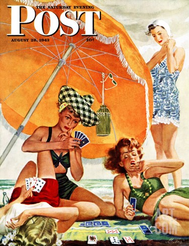 """Card Game at the Beach,"" Saturday Evening Post Cover, August 28, 1943 Stretched Canvas Print"