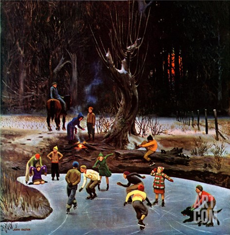 """Night Skating,"" December 16, 1944 Stretched Canvas Print"