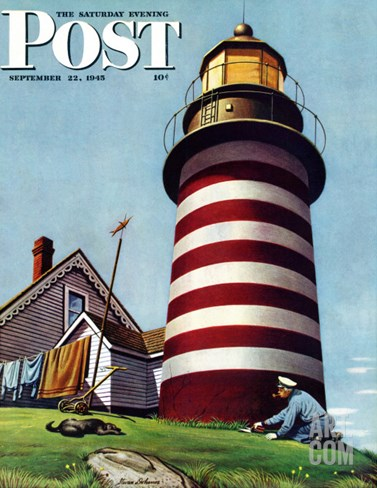 """Lighthouse Keeper,"" Saturday Evening Post Cover, September 22, 1945 Stretched Canvas Print"