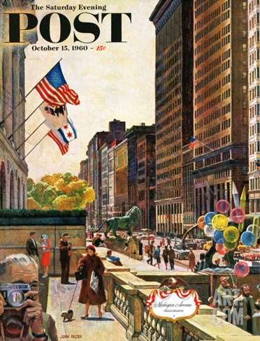 """Michigan Avenue, Chicago,"" Saturday Evening Post Cover, October 15, 1960 Stretched Canvas Print"