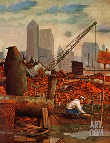 """Junkyard Garden,"" April 26, 1947 Stretched Canvas Print"