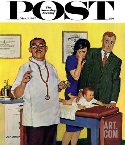 """Baby's First Shot,"" Saturday Evening Post Cover, March 3, 1962 Stretched Canvas Print"
