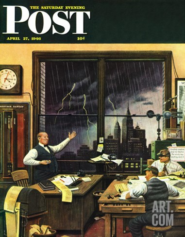 """Weatherman Was Right,"" Saturday Evening Post Cover, April 27, 1946 Stretched Canvas Print"