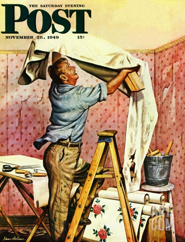 """Renegade Wallpaper,"" Saturday Evening Post Cover, November 26, 1949 Stretched Canvas Print"