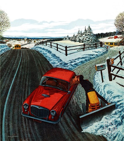 """Kiss At the End of the Driveway,"" February 24, 1962 Stretched Canvas Print"
