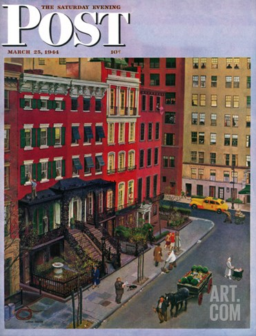 """Gramercy Park,"" Saturday Evening Post Cover, March 25, 1944 Stretched Canvas Print"