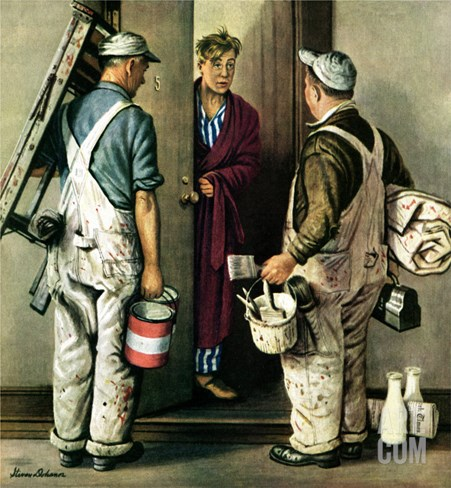 """Apartment Painters,"" May 1, 1948 Stretched Canvas Print"