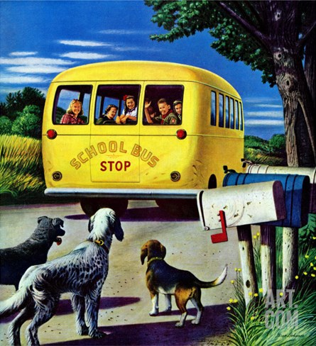 """School Bus,"" September 2, 1944 Stretched Canvas Print"