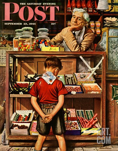 """Penny Candy,"" Saturday Evening Post Cover, September 23, 1944 Stretched Canvas Print"