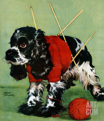 """Butch and Knitted Sweater,"" September 28, 1946 Stretched Canvas Print"