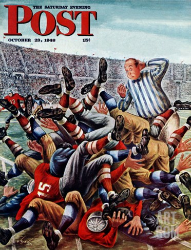 """Football Pile-up,"" Saturday Evening Post Cover, October 23, 1948 Stretched Canvas Print"
