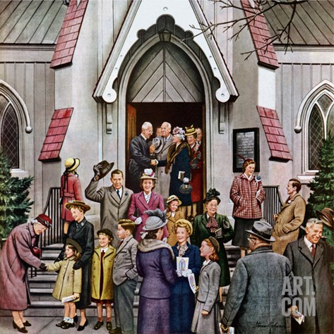 """After Church,"" April 16, 1949 Stretched Canvas Print"