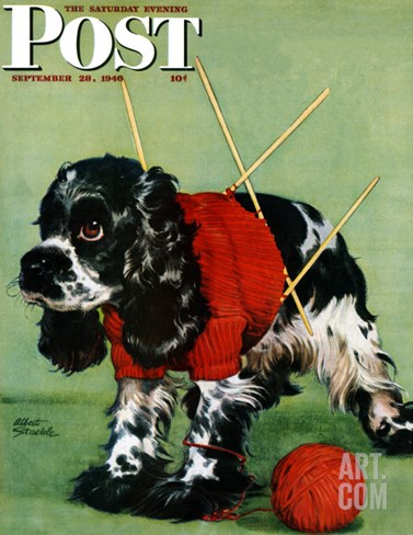 """Butch and Knitted Sweater,"" Saturday Evening Post Cover, September 28, 1946 Stretched Canvas Print"