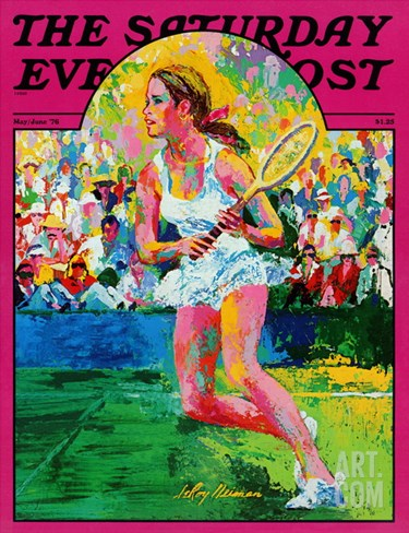 """Girl tennis player,"" Saturday Evening Post Cover, May/June 1976 Stretched Canvas Print"