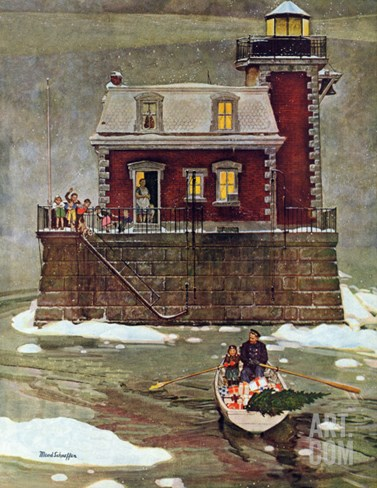 """Christmas at the Lighthouse,"" December 28, 1946 Stretched Canvas Print"