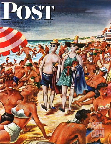 """Palefaces at the Beach,"" Saturday Evening Post Cover, July 27, 1946 Stretched Canvas Print"