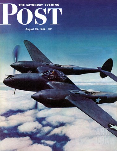 """""""Airborne Bomber,"""" Saturday Evening Post Cover, August 29, 1942 Stretched Canvas Print"""