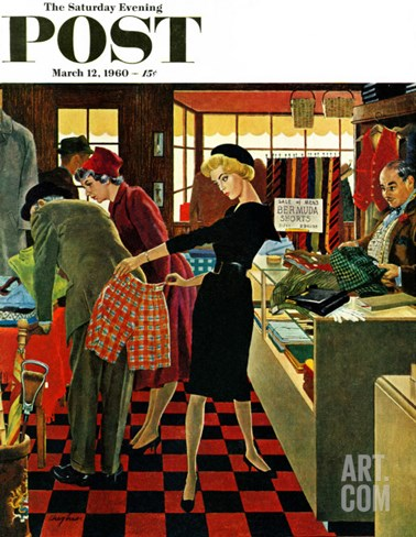 """Bermuda Shorts,"" Saturday Evening Post Cover, March 12, 1960 Stretched Canvas Print"