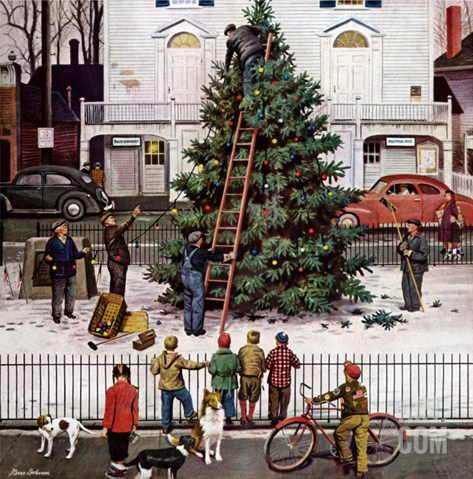 """Tree in Town Square,"" December 4, 1948 Stretched Canvas Print"