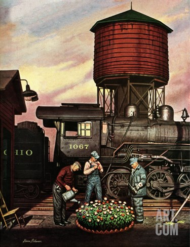 """Trainyard Flower Garden,"" August 9, 1947 Stretched Canvas Print"