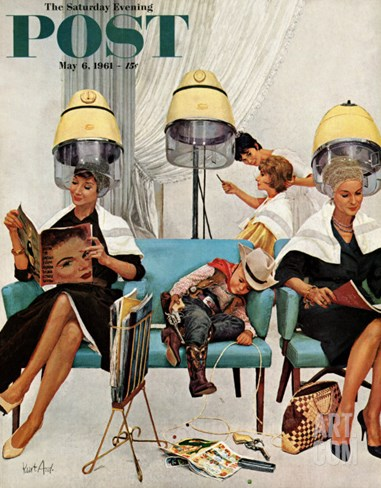 """Cowboy Asleep in Beauty Salon,"" Saturday Evening Post Cover, May 6, 1961 Stretched Canvas Print"