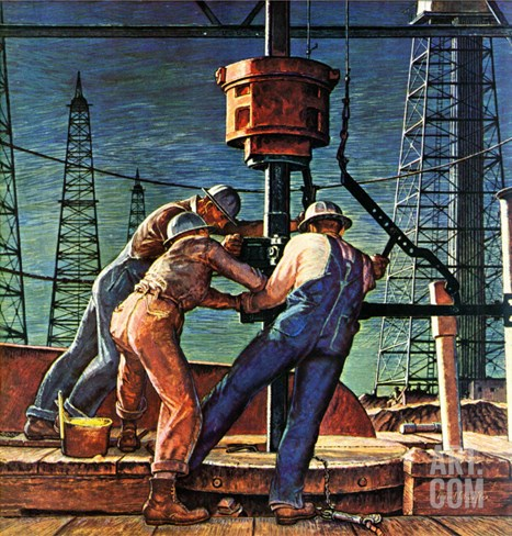 """Drilling for Oil,"" November 9, 1946 Stretched Canvas Print"