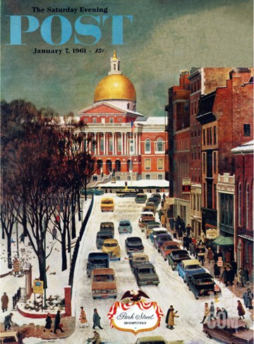 """Park Street, Boston,"" Saturday Evening Post Cover, January 7, 1961 Stretched Canvas Print"