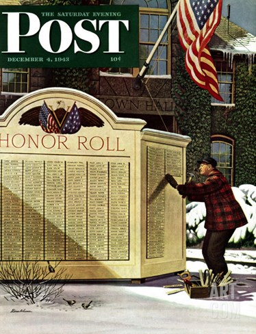 """Honoring the Dead,"" Saturday Evening Post Cover, December 4, 1943 Stretched Canvas Print"