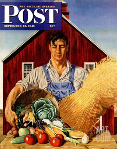 """Fall Bounty,"" Saturday Evening Post Cover, September 25, 1943 Stretched Canvas Print"