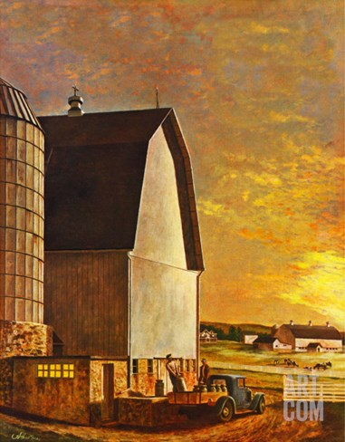 """Dairy Farm,"" July 19, 1947 Stretched Canvas Print"
