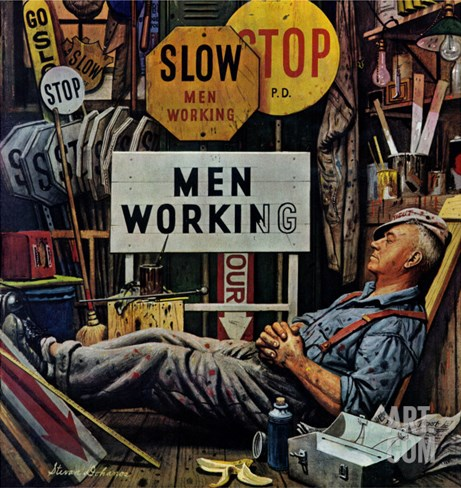 """Men Working,"" April 12, 1947 Stretched Canvas Print"