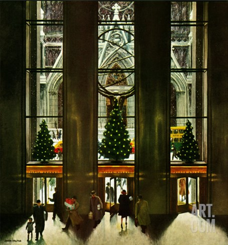 """St. Patrick's Cathedral at Christmas,"" December 3, 1949 Stretched Canvas Print"