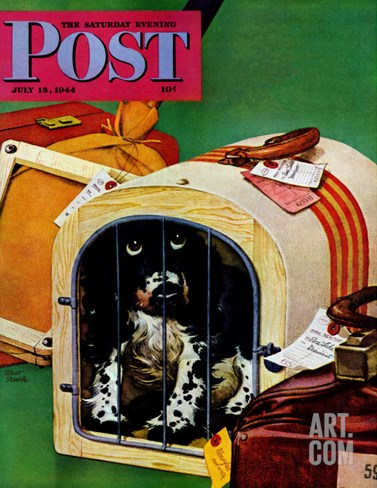 """Traveling Butch,"" Saturday Evening Post Cover, July 15, 1944 Stretched Canvas Print"
