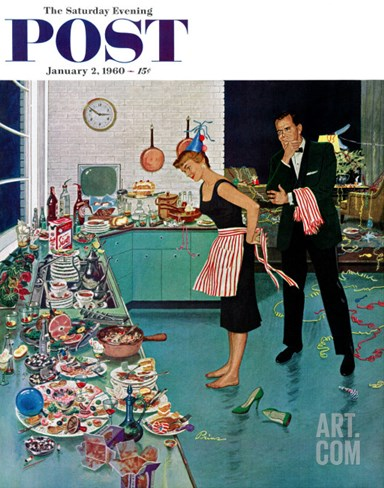 """After Party Clean-up,"" Saturday Evening Post Cover, January 2, 1960 Stretched Canvas Print"
