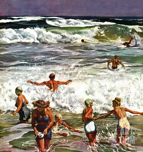 """Surf Swimming,"" August 14, 1948 Stretched Canvas Print"