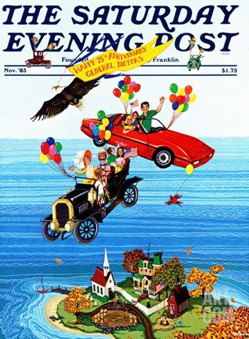 """Flying Cars,"" Saturday Evening Post Cover, November 1, 1983 Stretched Canvas Print"