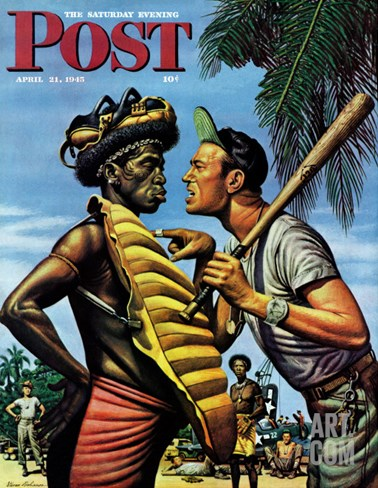 """Island Game,"" Saturday Evening Post Cover, April 21, 1945 Stretched Canvas Print"