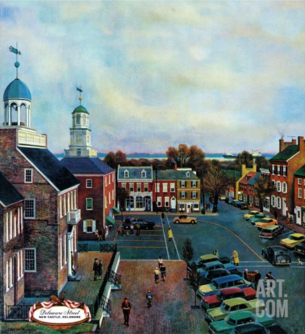 """Town Square, New Castle Delaware,"" March 17, 1962 Stretched Canvas Print"