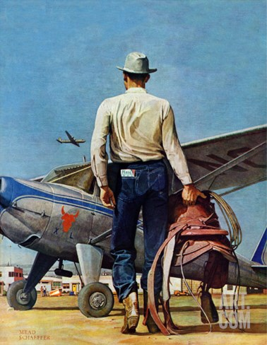 """Flying Cowboy,"" May 17, 1947 Stretched Canvas Print"