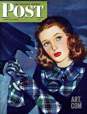 """April Shower,"" Saturday Evening Post Cover, April 8, 1944 Stretched Canvas Print"