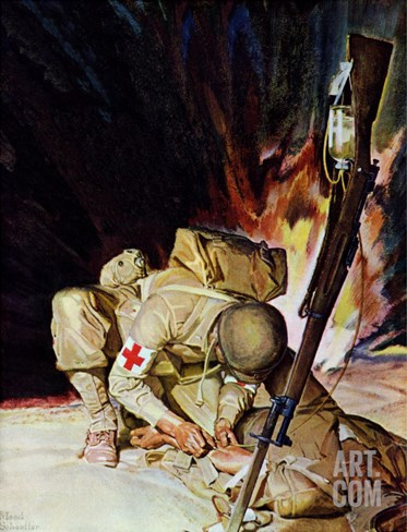 """Medic Treating Injured in Field,"" March 11, 1944 Stretched Canvas Print"
