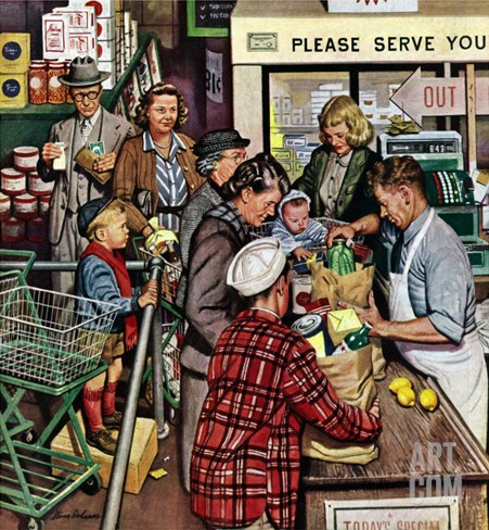 """Grocery LIne,"" November 13, 1948 Stretched Canvas Print"