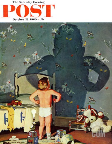"""Big Shadow, Little Boy,"" Saturday Evening Post Cover, October 22, 1960 Stretched Canvas Print"