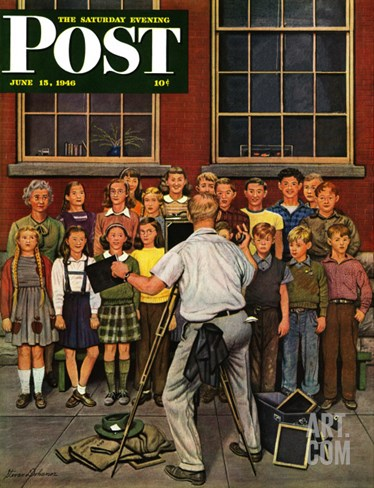 """School Pictures,"" Saturday Evening Post Cover, June 15, 1946 Stretched Canvas Print"