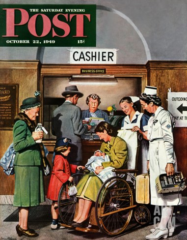 """Leaving the Hospital,"" Saturday Evening Post Cover, October 22, 1949 Stretched Canvas Print"