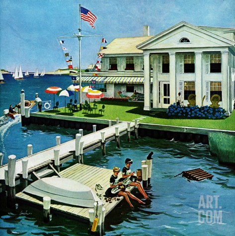 """Yacht Club,"" June 23, 1962 Stretched Canvas Print"